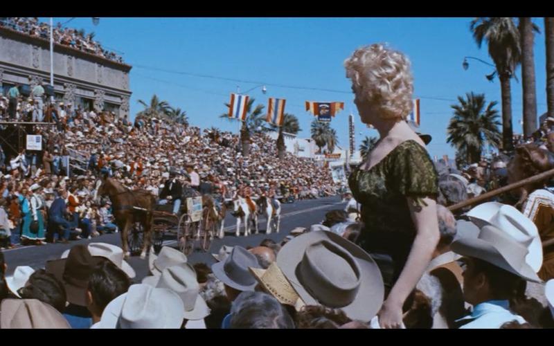 Marilyn Monroe filming outside the Westward Ho Hotel.