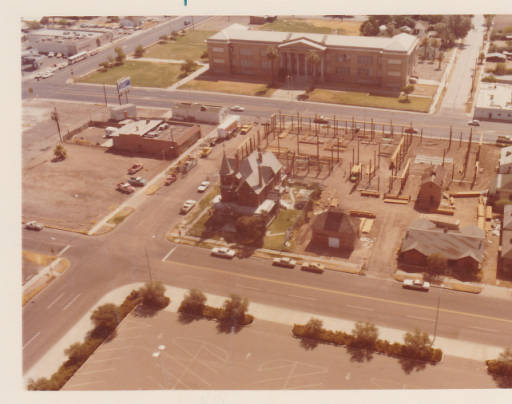Aerial View of Rosson House and Lath House Pavilion Construction