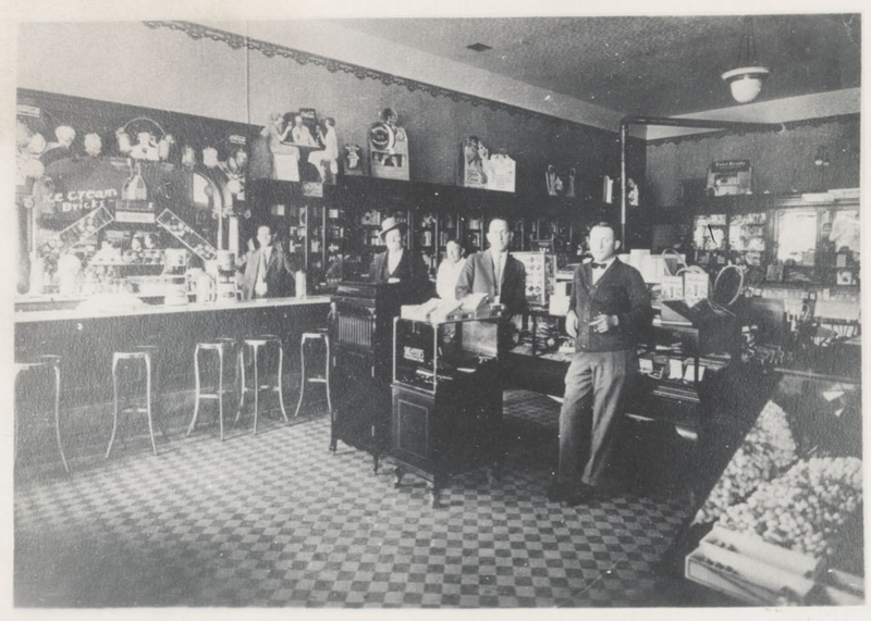Interior of Laird and Dines Drugstore, ca. 1920