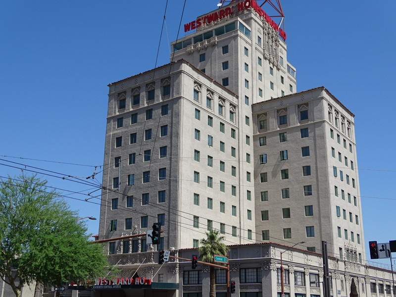 View of Hotel Westward Ho from the front