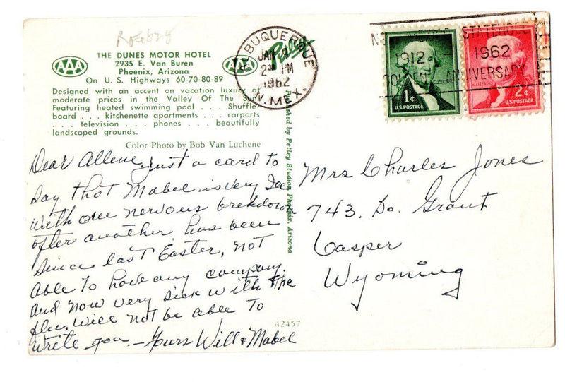 Dunes Motor Hotel Postcard Verso