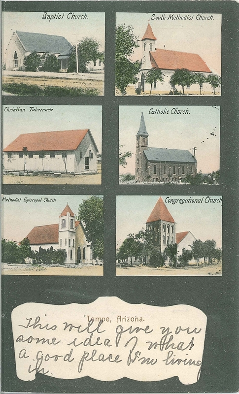 Postcard of Churches in Tempe, ca. 1909
