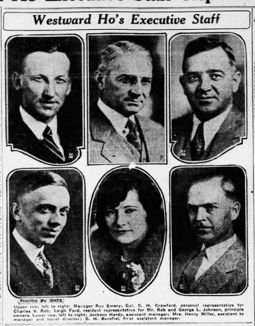 The operations executive staff employed at the Westward Ho on opening day in 1928