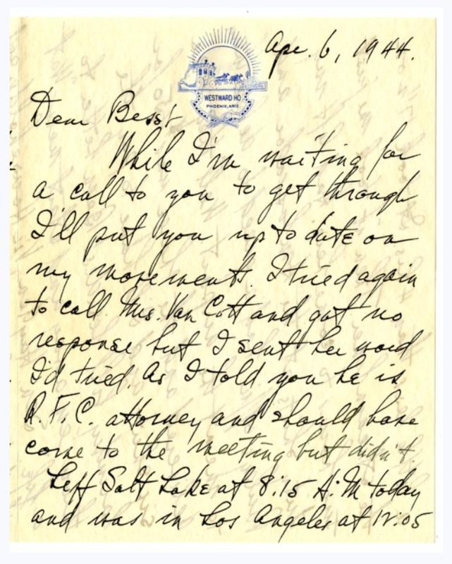 Harry S. Truman Letter written from Westward Ho Hotel