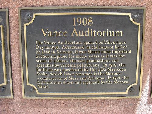 Vance Auditorium Plaque